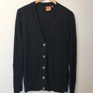 Tory Burch black cardigan with logo buttons. L